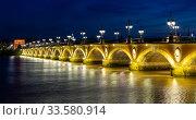 Night view of Pont de pierre, Bordeaux (2019 год). Стоковое фото, фотограф Яков Филимонов / Фотобанк Лори