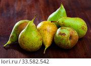 Купить «Pears on wooden table», фото № 33582542, снято 11 июля 2020 г. (c) Яков Филимонов / Фотобанк Лори