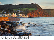 Sidmouth and red Sandstone cliffs of Jurassic Coast, Devon, England, November 2009. Стоковое фото, фотограф Guy Edwardes / Nature Picture Library / Фотобанк Лори