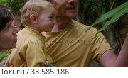 Купить «Man picking flowers while holding baby in garden», видеоролик № 33585186, снято 12 апреля 2019 г. (c) Wavebreak Media / Фотобанк Лори