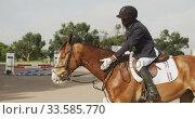 African American man riding his Dressage horse. Стоковое видео, агентство Wavebreak Media / Фотобанк Лори