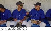 Baseball players discussing together . Стоковое видео, агентство Wavebreak Media / Фотобанк Лори