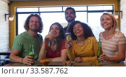 Купить «Friends at the bar in a pub having fun», видеоролик № 33587762, снято 15 ноября 2019 г. (c) Wavebreak Media / Фотобанк Лори