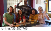 Купить «Friends at the bar in a pub having fun», видеоролик № 33587766, снято 15 ноября 2019 г. (c) Wavebreak Media / Фотобанк Лори