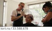 Купить «Side view woman having her hair styled by two hairdressers», видеоролик № 33588678, снято 29 апреля 2019 г. (c) Wavebreak Media / Фотобанк Лори