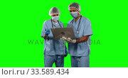 Купить «Front view of doctors watching some results on laptop with green screen», видеоролик № 33589434, снято 18 января 2019 г. (c) Wavebreak Media / Фотобанк Лори
