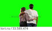 Rear view of a couple with green screen . Стоковое видео, агентство Wavebreak Media / Фотобанк Лори