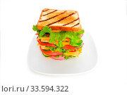 Купить «Giant sandwich isolated on the white background», фото № 33594322, снято 30 мая 2020 г. (c) easy Fotostock / Фотобанк Лори