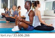 Sporty females and males meditating in yoga position Padmasana in pairs during training at gym. Стоковое фото, фотограф Яков Филимонов / Фотобанк Лори