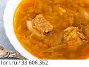 Soup of cabbage Shchi with pork and vegetables, served with sour cream. Стоковое фото, фотограф Яков Филимонов / Фотобанк Лори
