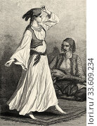 Bosnian woman dancing a typical dance. Bosnia. Europe, Old engraving illustration Trip land of southern Slavs by M. Perrot. Стоковое фото, фотограф Jerónimo Alba / age Fotostock / Фотобанк Лори