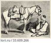 Bosnian peasant with his horse. Bosnia. Europe, Old engraving illustration Trip land of southern Slavs by M. Perrot. Стоковое фото, фотограф Jerónimo Alba / age Fotostock / Фотобанк Лори