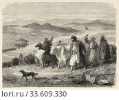 Peasants with cattle grazing in the grasslands, Bosnian military border, Bosnia. Europe, Old engraving illustration Trip land of southern Slavs by M. Perrot. Стоковое фото, фотограф Jerónimo Alba / age Fotostock / Фотобанк Лори