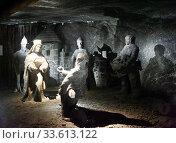 Salt sculptures in Janowice Chamber in Wieliczka Salt Mine. Редакционное фото, фотограф Яков Филимонов / Фотобанк Лори