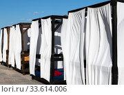 The Beach arbors closed with a white cloth, Crimea (2019 год). Стоковое фото, фотограф Володина Ольга / Фотобанк Лори