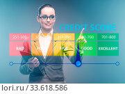Купить «The businesswoman in credit score concept», фото № 33618586, снято 4 августа 2020 г. (c) easy Fotostock / Фотобанк Лори