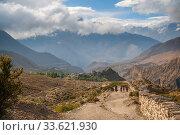 Купить «Village of Jharkot, Nepal, Himalayan landscape», фото № 33621930, снято 2 октября 2012 г. (c) Юлия Бабкина / Фотобанк Лори