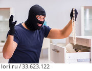 Robber wearing balaclava stealing valuable things. Стоковое фото, фотограф Elnur / Фотобанк Лори