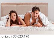 Купить «Family conflict with wife husband in bed», фото № 33623170, снято 17 ноября 2016 г. (c) Elnur / Фотобанк Лори