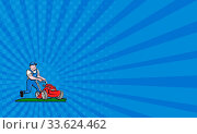 Купить «Business card showing illustration of a gardener wearing hat and overalls with lawnmower mowing lawn viewed from front set on isolated white background done in cartoon style.», фото № 33624462, снято 30 мая 2020 г. (c) age Fotostock / Фотобанк Лори