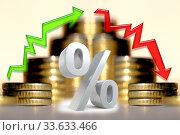 Cтрелки и символ процента на фоне денег . Концепция изменения финансовой стабильности . Стоковое фото, фотограф Сергеев Валерий / Фотобанк Лори