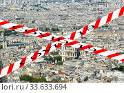 Купить «Coronavirus in Paris, France. Covid-19 sign. Concept of COVID pandemic and travel in Europe. The city skyline at daytime.», фото № 33633694, снято 10 апреля 2020 г. (c) Владимир Журавлев / Фотобанк Лори
