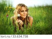 Girl with dandelion i wish. Стоковое фото, фотограф Иван Михайлов / Фотобанк Лори