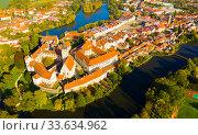 Купить «Aerial view on the city Telc. Czech Republic», фото № 33634962, снято 12 октября 2019 г. (c) Яков Филимонов / Фотобанк Лори