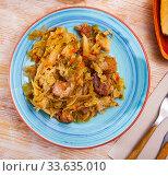 Купить «Braised sauerkraut with pork meat», фото № 33635010, снято 6 июня 2020 г. (c) Яков Филимонов / Фотобанк Лори