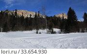Купить «Beautiful mountains covered with snow. Sunny day and blue sky on a frosty day», видеоролик № 33654930, снято 5 марта 2019 г. (c) Олег Хархан / Фотобанк Лори