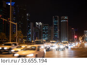 Doha, Qatar - Nov 18. 2019. Al Corniche St in West Bay area with the high-rises buildings. Редакционное фото, фотограф Володина Ольга / Фотобанк Лори