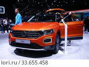 Купить «Volkswagen T-Roc», фото № 33655458, снято 10 марта 2019 г. (c) Art Konovalov / Фотобанк Лори