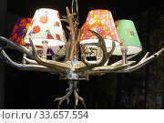 Купить «Lamps With Colorful Shades on Decorative Antler Mounting, Oslo, Norway.», фото № 33657554, снято 27 августа 2019 г. (c) age Fotostock / Фотобанк Лори