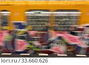 Купить «Berlin, Germany, Dynamics: Graffiti on a subway car», фото № 33660626, снято 24 января 2020 г. (c) Caro Photoagency / Фотобанк Лори
