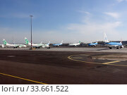 Amsterdam, Netherlands, Effects of the Corona Pandemic: KLM and Transavia aircraft parked at Schiphol Airport. Редакционное фото, агентство Caro Photoagency / Фотобанк Лори