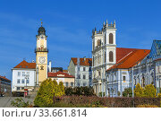 St. Francis Cathedral and clock tower, Banska Bystrica, Slovakia (2019 год). Стоковое фото, фотограф Boris Breytman / Фотобанк Лори