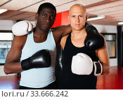Two muscular glad boxers in the ring. Стоковое фото, фотограф Яков Филимонов / Фотобанк Лори