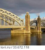 Большеохтинский мост. Мост Петра Великого. Санкт-Петербург (2018 год). Редакционное фото, фотограф Александр Щепин / Фотобанк Лори