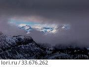 Купить «Snowy winter French Alps, ski resort Flaine, Grand Massif area within sight of Mont Blanc, Haute Savoie, France», фото № 33676262, снято 1 июня 2020 г. (c) easy Fotostock / Фотобанк Лори