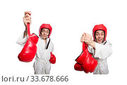 Купить «Man boxer isolated on white», фото № 33678666, снято 14 марта 2014 г. (c) Elnur / Фотобанк Лори