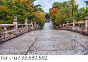 Купить «The way to the Otani Hombyo mausoleum over the Entsu Bridge. Kyoto. Japan», фото № 33680502, снято 18 октября 2019 г. (c) Serg Zastavkin / Фотобанк Лори