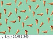 Flying pattern from crispy waffle cones for ice cream or gelato. Стоковое фото, фотограф Ярослав Данильченко / Фотобанк Лори