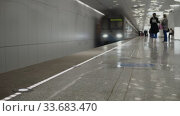 New modern bright metro station in Moscow. Timelapse. Стоковое видео, видеограф Aleksandr Lutcenko / Фотобанк Лори