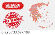 Купить «Vector composition of wildfire Greece map and red round scratched No Name watermark. Emergency Greece map mosaic of flame, power hazard elements. Vector combination for emergency services,», фото № 33697198, снято 26 мая 2020 г. (c) age Fotostock / Фотобанк Лори