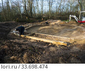 Купить «Preparatory work for construction of educational dipping pond, Blashford Lakes Nature Reserve. Hampshire and Isle of Wight Wildlife Trust Reserve, Ellingham...», фото № 33698474, снято 29 мая 2020 г. (c) Nature Picture Library / Фотобанк Лори
