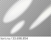 Sunbeams and transparent shadow. Vector mockup. Стоковая иллюстрация, иллюстратор Анастасия Радионова / Фотобанк Лори