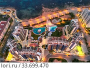 Купить «Top view modern luxury architectural complex with swimming pools. Spain», фото № 33699470, снято 27 января 2019 г. (c) Alexander Tihonovs / Фотобанк Лори