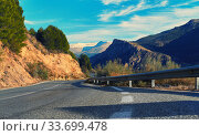 Mountain road leading to Sierra Nevada. Spain. Стоковое фото, фотограф Alexander Tihonovs / Фотобанк Лори