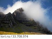 Купить «Wolken vor blauem Himmel am Berg Mosfell, Ostisland, Island, Europa», фото № 33708974, снято 28 мая 2020 г. (c) age Fotostock / Фотобанк Лори