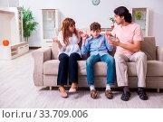 Купить «The family conflict with husband and wife and child», фото № 33709006, снято 12 июля 2020 г. (c) easy Fotostock / Фотобанк Лори